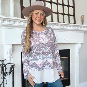 Kiera Pink Aztec Southwestern Pattern Pullover